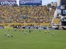 Ecuador's defense preparing to defend a free kick by Messi