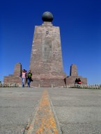 The line marking the equator, and the Mitad del Mundo monument