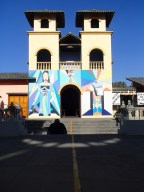 A church at Mitad del Mundo that is bisected by the equator