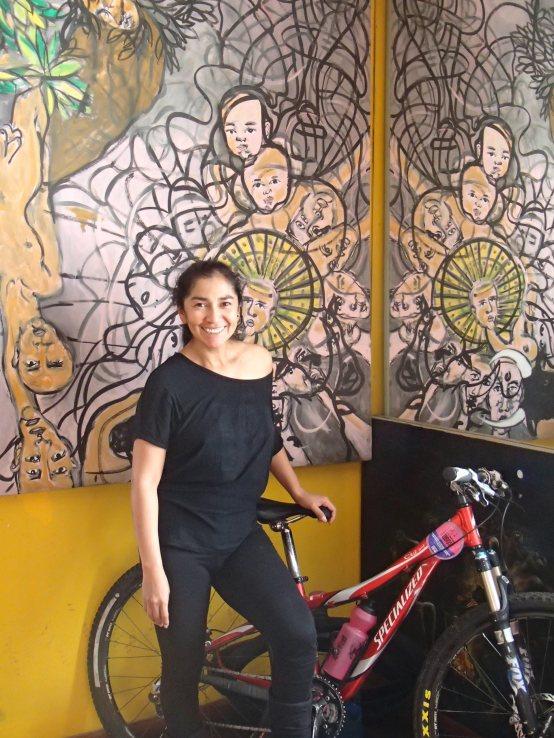 Araceli in her dance studio, with, as always, her bike