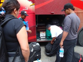 A chauffeur loading luggage onto the bus
