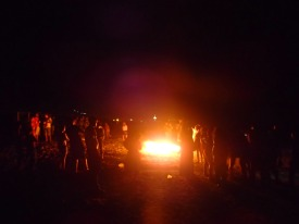 One of several bonfires that were lit to ring in 2014