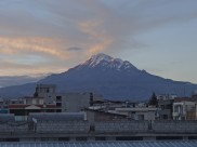 An amazing view of Chimborazo from my hostel in Riobamba