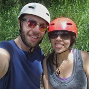 All geared up for zip-lining in Mindo