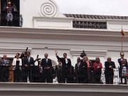 President Correa greets the crowd before the Changing of the Guard takes place