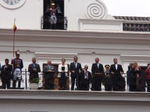 Present for the ceremony were, (R-L) President Correa, the vice-president, the Minister of Sports, the Minister of Social Development, National Director of Football, and the coach of the national football